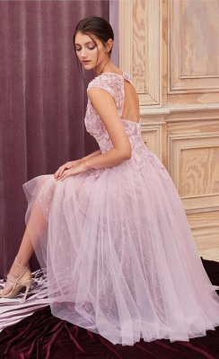 Cheap Lace Tulle Short Prom Dresses Sleeveless Open Back_2