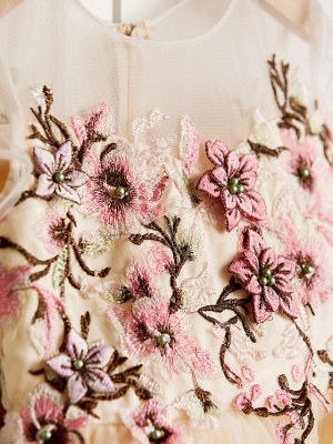 Cute Jewel Tulle Lace Satin Sleeveles Flower Girl Dress_6