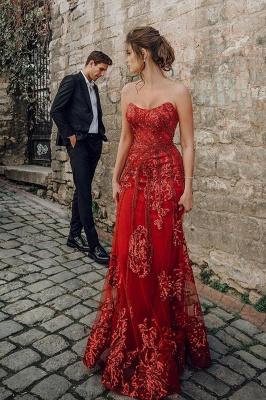 Floor Length Tulle Sweetheart Floral Partten Prom Dresses_1