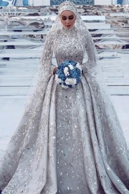 Luxury Sheath High-Neck Tulle Lace Wedding Dress with Beadings_1