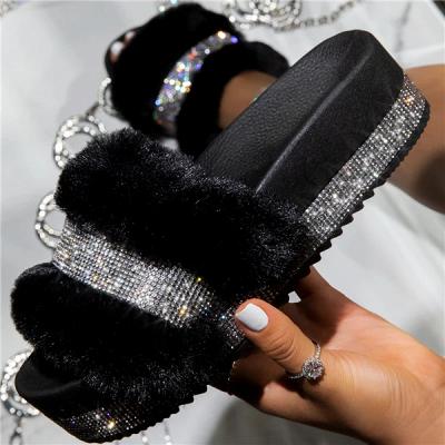 Fashion Rhinestone Woollen Shoes Women Woollen Slippers On Sale_6