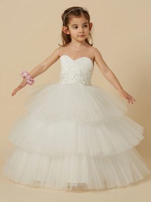 Lovely Jewel Tulle Lace Sleeveless Flower Girl Dress_5