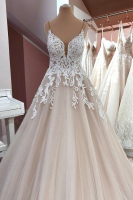 Cheap Lace Tulle Floor Length Wedding Gowns Backless_1