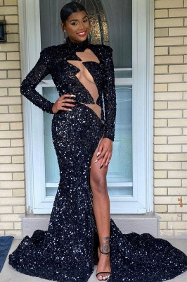 Sparkly Long Sleeve Sequins Side Split Prom Dress_1
