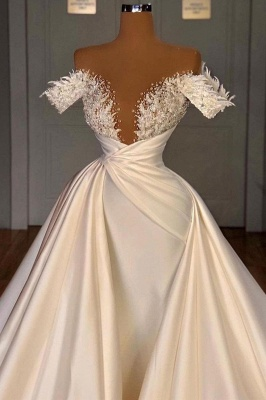 Chic Long Sleeves Satin Tulle Wedding Dress with Ruffles_3