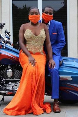Sweetheart Appliques Organe Prom Dress Mermaid Evening Maxi Dress_3