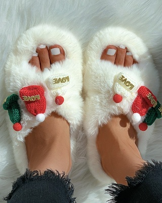 Christmas Pattern Cross Fluffy Slippers_18