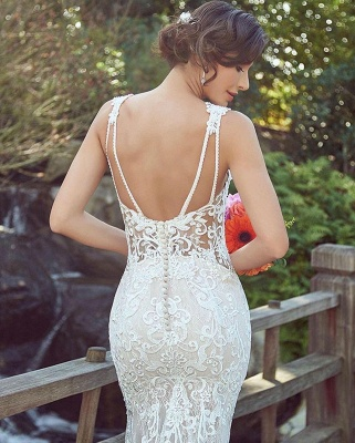 Cheap Mermaid Sweetheart Floor Length Lace Wedding Gowns_4