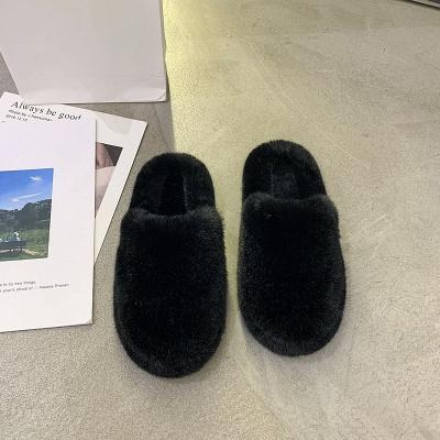 Plain Close Toe Fluffy Slippers_6