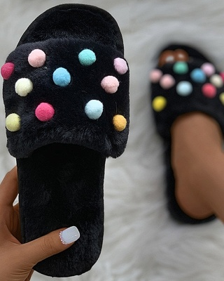 Pom Pom Colorblock Fluffy Slippersa_2