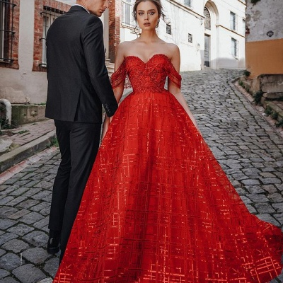 Gorgeous Ball Gown Sweetheart Red Prom Dress with Sequins_2