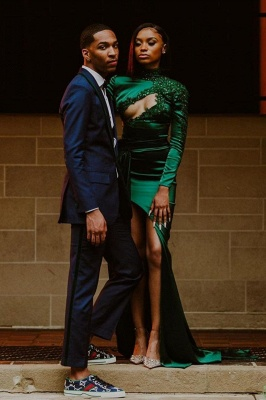 Sexy Dark Green Appliques Side Split Prom Dress Long SLeeve_1