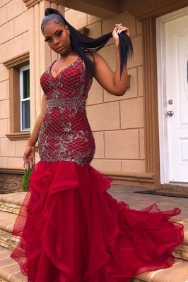 Chic V-Neck Appliques Prom Dresses Mermaid Pufft Evening Gowns_1