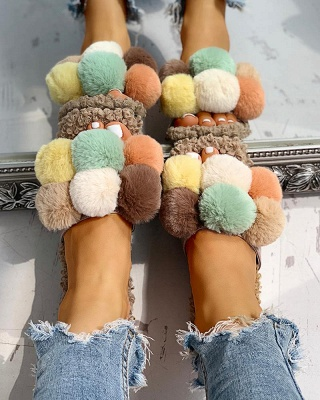 Villus Fluffy Casual Flat Sandals_5