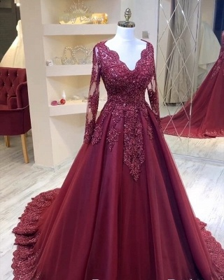 Elegant V-Neck Tulle Lace Long Sleeves Prom Dress with Beadings_2