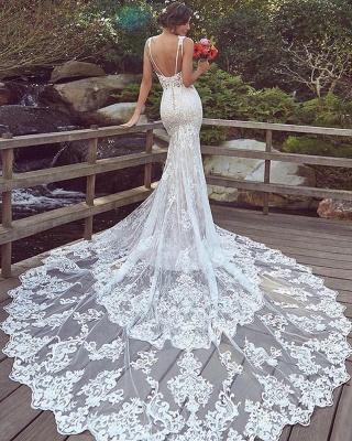Cheap Mermaid Sweetheart Floor Length Lace Wedding Gowns_2