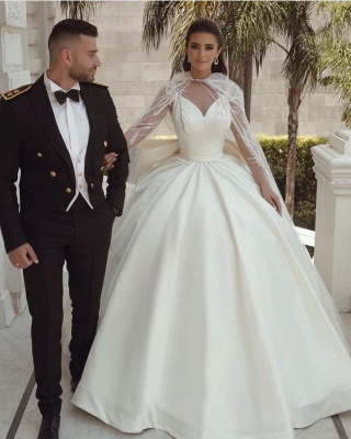 Ball Gown Satin Long Sleeves Lace Wedding Dress with Bow_4