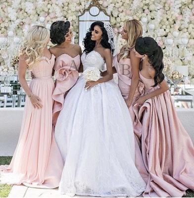 Long Bridemsiad Dresses Pink mermaid Taft_3