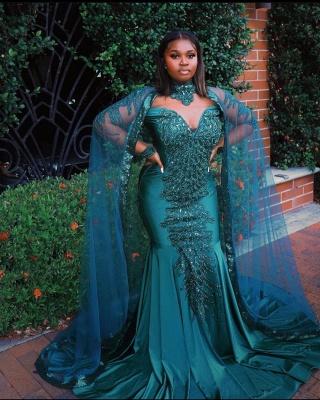 Glamorous Mermaid Prom Dresses Long Sleeve Floor Length Evening Gowns_4
