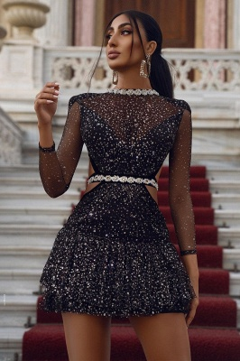 Sparkly Sequins Long Sleeve  Hoco Dress Cocktail Party Dress_2