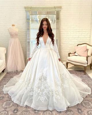 Allering Deep-V-Neck Long Sleeves Wdding Dress On Sale_1