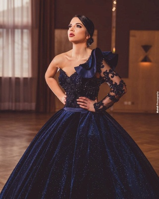 Gorgeous A Line Dark Purple Ball Gowns One Shoulder Prom Dresses_2