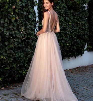 Cheap A Line Beadings V Neck Tulle Floor Length Prom Dresses_2