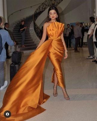 Floor Length Sleeveless Orange Prom Dresses Slim Evening Gowns_4