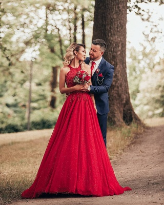 Cheap Red Lace Prom Dresses Jewel Floor Length Formal Gowns_4
