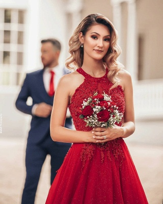 Cheap Red Lace Prom Dresses Jewel Floor Length Formal Gowns_7