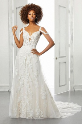 Chic A-line Tulle Lace Cold-Sleeves Wedding Dress with Train_1