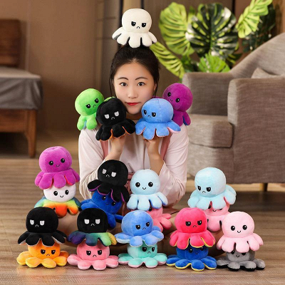 5 PCS Reversible Flip Octopus Stuffed Plush Doll Soft Simulation Reversible Plush Toys Color Chapter Plush Doll Child Toys