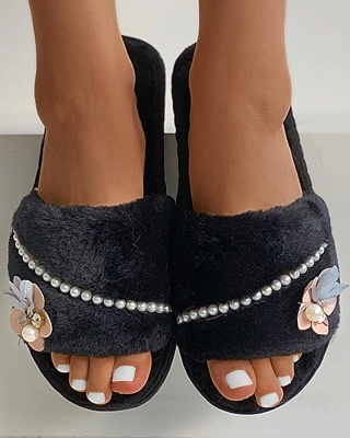 Floral Pattern Beaded Fluffy Slippers_8