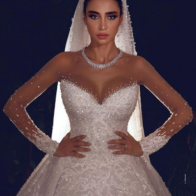 Luxury Ball Gown Tulle Lace Long Sleeves Wedding Dress with Beadings_3