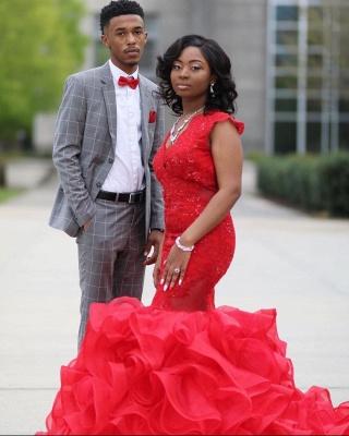 Mermaid Red Prom Dresses Sleeveless Ruffy Train Evening Maxi Gown_4