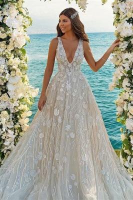 Chic V-neck A-Line Straps Tulle Lace Wedding Dress