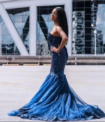 Sweetheart Tulle Mermaid Evening Gowns Sleeveless_5