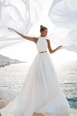 Chic A-Line Chiffon High-Neck Sleeveless Wedding Dress