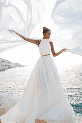 Chic A-Line Chiffon High-Neck Sleeveless Wedding Dress_1
