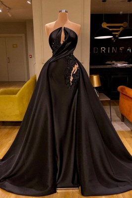 Sleeveless Black Evening Gowns Charming Mermaid Sweep Train_1