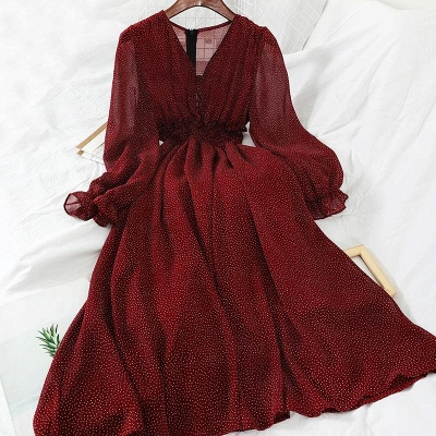 Long Sleeves Print Ruby Prom Dresses Chiffon
