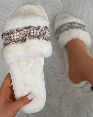 Fringe Beaded Fluffy Slippers_7