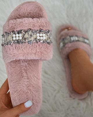 Fringe Beaded Fluffy Slippers_17