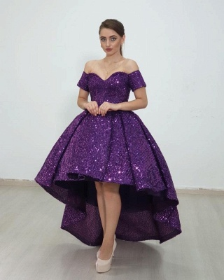 Cheap Shining Short Sequin Prom Dresses Burgundy with Train_3