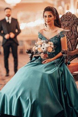 Gorgeous A Line Blue Off the Shoulder Lace Prom Dresses_1