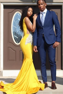 Yellow Sleeveless Mermaid Evening Prom Dresses Lace Appliques_1