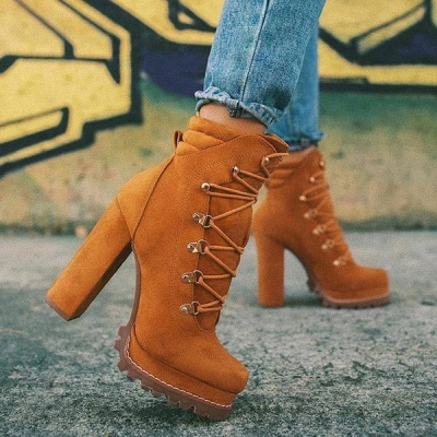 Fashion High Heel Boots Waterproof Platform Boots for Autumn/Winter 2021 On Sale_2