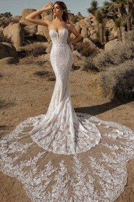 Sexy Floor Length Sweetheart White Lace Mermaid Wedding Gowns_1