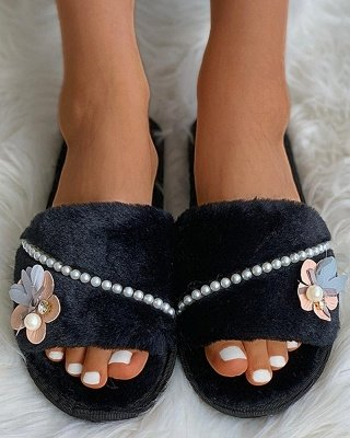 Floral Pattern Beaded Fluffy Slippers_2
