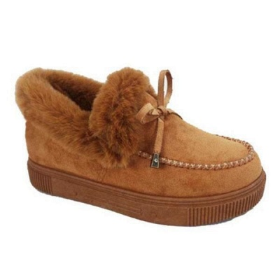 Fashion Daily Round Toe Fashion Warm Fur Flat boots On Sale On Sale_13